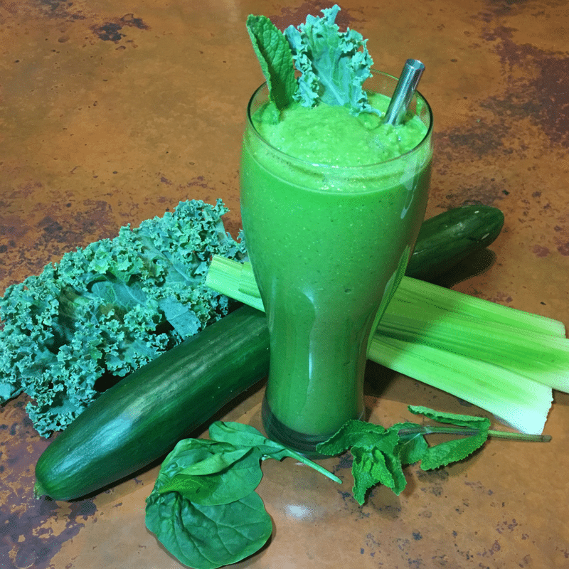 Alkagizer Green Smoothie WildFit - Advanced Green Smoothies with celery, avocado, cucumber, spinach, kale, and collard greens