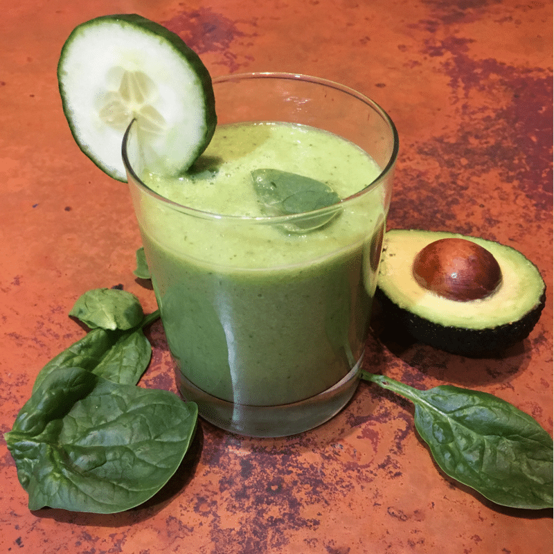 Celery Benefits - green smoothie - Intermediate Green Smoothies with spinach, avocado, cucumber, and celery
